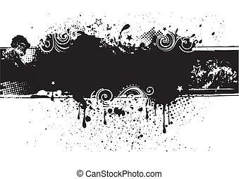 zurück, tinte, illustration-grunge, vektor
