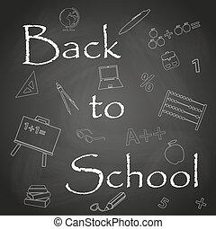 Zurück zu Schultext auf schwarzer Kreidewand Eps 10.
