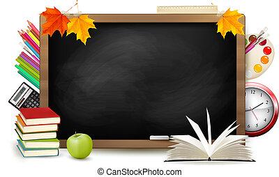 Zurück zur Schule. An der Tafel mit Schulsachen. Vector.