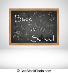 Zurück zur Schule Text auf schwarzem Holz-Calkboard Hintergrund eps10.