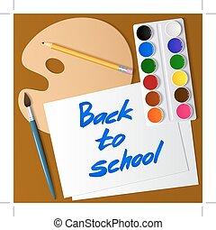 Zurück zur Schule. Werkzeug für die Zeichnung. Aquarellfarbe, Pinsel, Bleistift, Palette, Papier. Vector