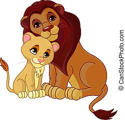zusammen, junge, löwe