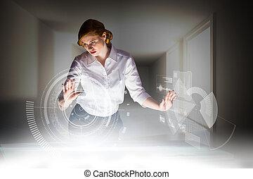 zusammengesetzt, buero, rothaarige, interaktiv, gebrauchend, geschäftsfrau, bild