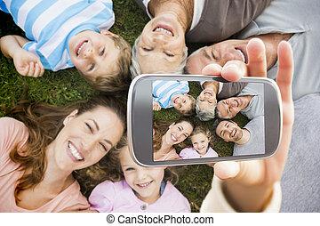 zusammengesetzt, hand holding, ausstellung, bild, smartphone