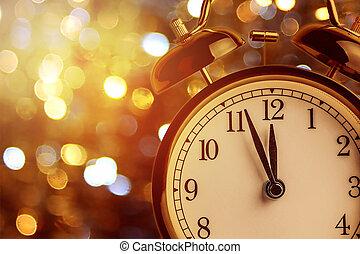 zwölf, ausstellung, begriff, uhr, uhr, weinlese, alarm, midnight., ihm, bokeh, jahr, neu , feiertag, weihnachten, festlicher, glücklich