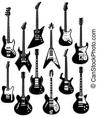 Zwölf elektrische Gitarren