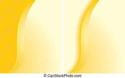 Zwei abstrakte gelbe Hintergründe