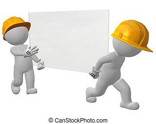 Zwei Arbeiter tragen Glasscheiben
