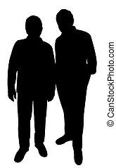Zwei arme Männer Silhouette.