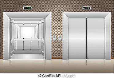 Zwei Aufzugtüren offen und geschlossen