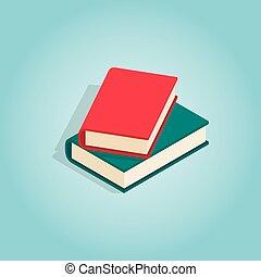 Zwei Bücher Ikonen, isometrische 3D-Stil
