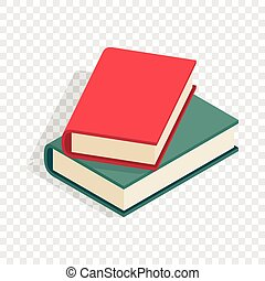 Zwei Bücher isometrische Ikone.