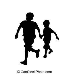 Zwei Brüder rennen.