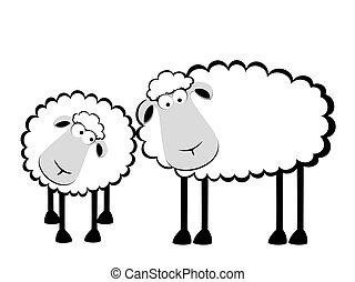 Zwei Cartoon lächelnde Schafe