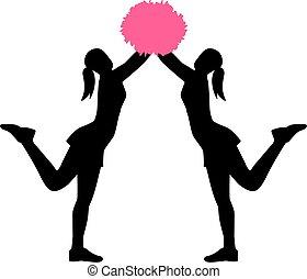 Zwei Cheerleader mit Pom Pom Pom.