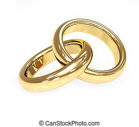 Zwei dreidg goldene Hochzeitsringe