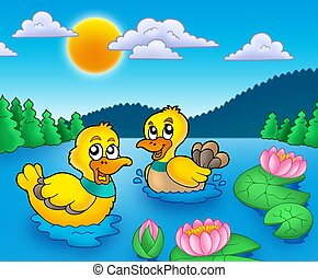 Zwei Enten und Wasserlillies