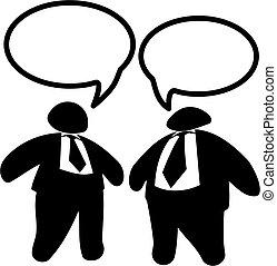 Zwei fette Geschäftsmänner oder Politiker reden