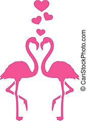 Zwei Flamingos in Liebe.