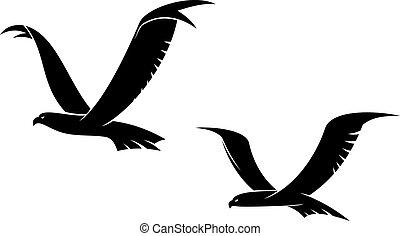 Zwei fliegende Vögel in Silhouette.