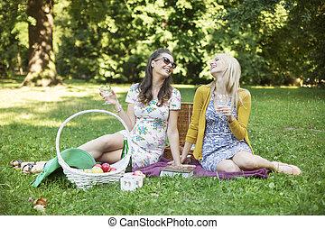 Zwei fröhliche Freundinnen genießen die Freizeit im Park.