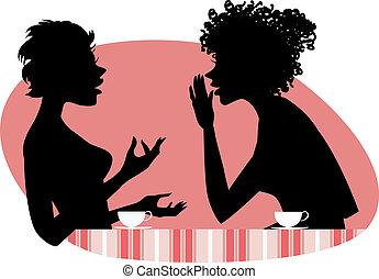 Zwei Frauen reden