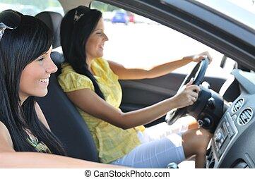 Zwei Freunde fahren im Auto