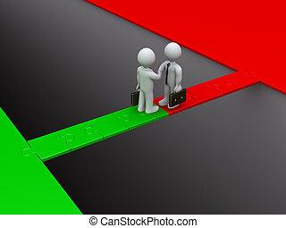 Zwei Geschäftsleute sind sich auf eine Rätselbrücke einig