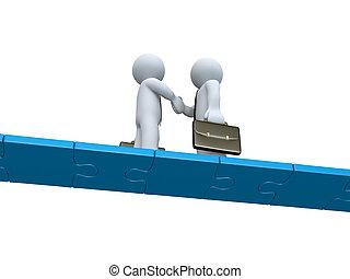 Zwei Geschäftsmänner machen einen Deal auf einer Rätselbrücke
