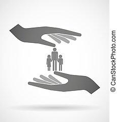 Zwei Hände, die ein männliches Familienfotogramm schützen oder geben.