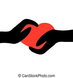 Zwei Hände mit Herz.