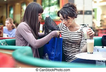 Zwei hübsche Mädchen mit Einkaufstüten
