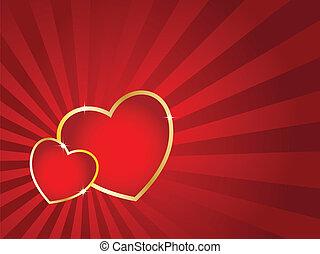 Zwei Herzen mit goldenem Schlaganfall und gestreifter Vergangenheit. Valentinstagsvektorkarte.