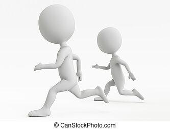 Zwei humanoide Figuren laufen