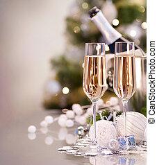 zwei, jahr, neu , champagner, celebration., brille