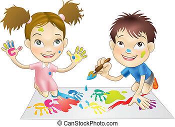 Zwei junge Kinder spielen mit Farben.