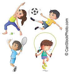 Zwei junge Mädchen trainieren und zwei junge Jungs spielen