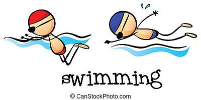 Zwei Jungs schwimmen.