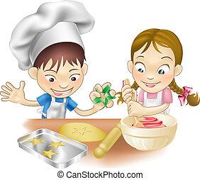 Zwei Kinder haben Spaß in der Küche.