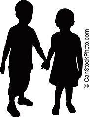 Zwei Kinder Silhouette.