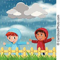 Zwei Kinder spielen im Regen.
