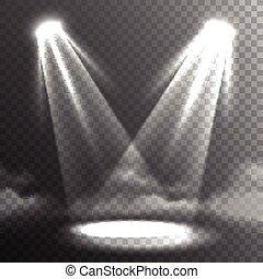 Zwei Lichtstrahlen treffen Banner.