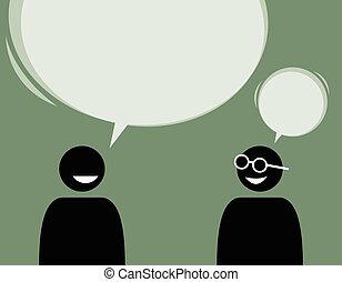 Zwei Männer-Freunde reden und stimmen einander zu.