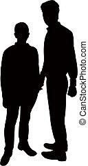 Zwei Männer Silhouette Vektor.