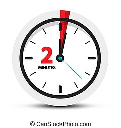 Zwei Minuten Uhr. Vektor 2-Minuten-Vektor-Icon.