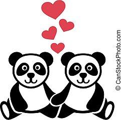 Zwei Panda in Liebe.