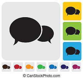 Zwei Redebläschen (chat icons)- minimalistische Vektorgrafik