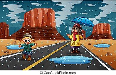 zwei, regen, mädels, spielende , regnerisch, jahreszeit