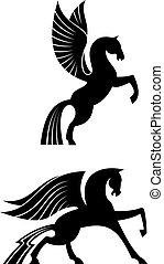 Zwei schwarze geflügelte Pferde.