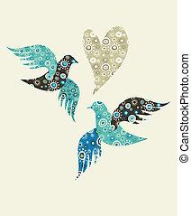Zwei Tauben und ein Herz.